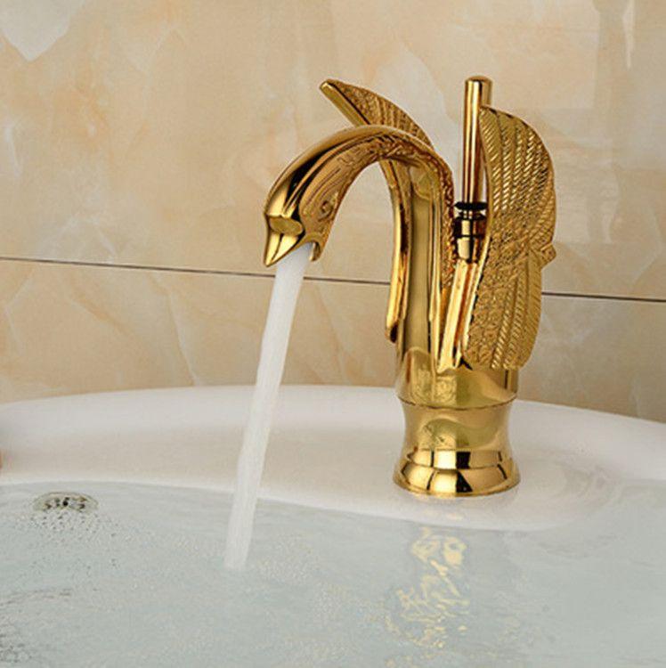 Groß- und Kleinhandel geben Verschiffen frei Kupferbeckenhahn Küchenbadezimmerhahn Europäer-Art goldener Schwan-Luxuxentwurf
