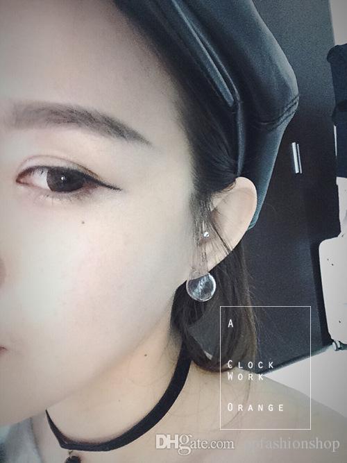 Nouveau bulle de verre simple et élégant transparent fermeture à glissière drôle de la main pour la soeur originale boucles d'oreilles de haute qualité