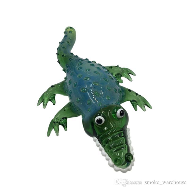 Factory outlet Krokodilglas Handpfeife mit grüner Tabakglaspfeife Für Rauch Schnelle Lieferung