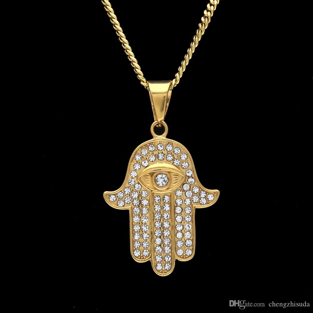Stainless Steel Gold Color Hamsa Hand Pendant Iced Out Rhinestone Hand of Fatima Jewelry With 3mm 24inch Cuban chain