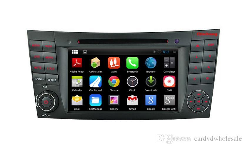 Quad Core HD 1024 * 600 Android 5.1.1 Reproducción de DVD de autos para Benz W211 2002-2008 CLS350 E220, Ewith GPS Navigation Radio Wifi Enlace de espejo DVR