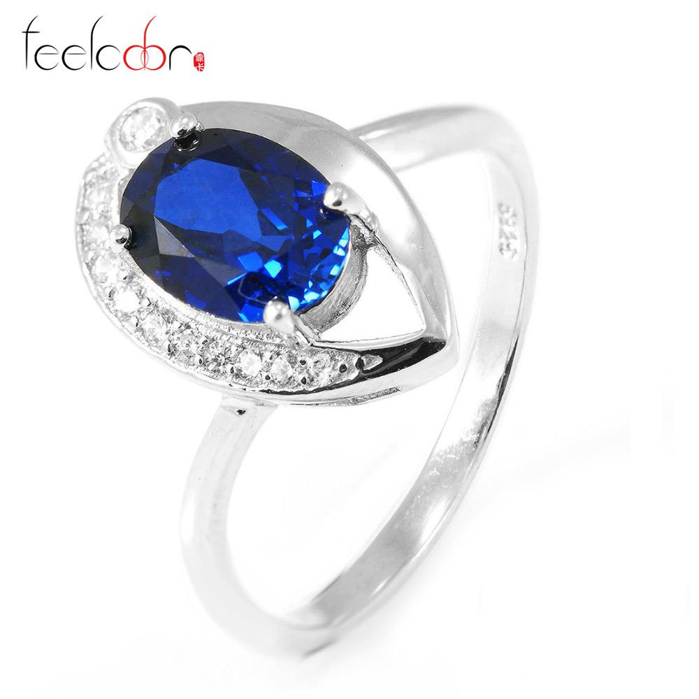 2018 Blue Sapphire Wedding Ring Set For Women Pure 925 Solid