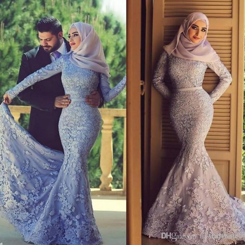 2017 Muslim Wedding Dresses Lace Long Sleeves Mermaid High Neck Bridal Gowns Islamic Women Dress