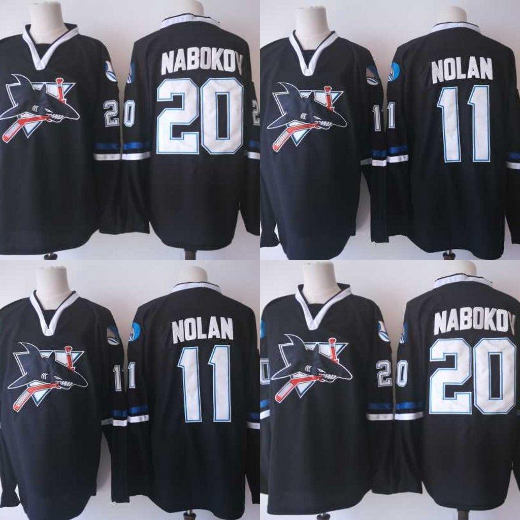 detailed look bbe88 2cb99 San Jose Sharks 2017-2018 Vintage Hockey Jerseys 11 Owen Nolan 20 Evgeni  Nabokov Stitched New Jersey Free Shipping