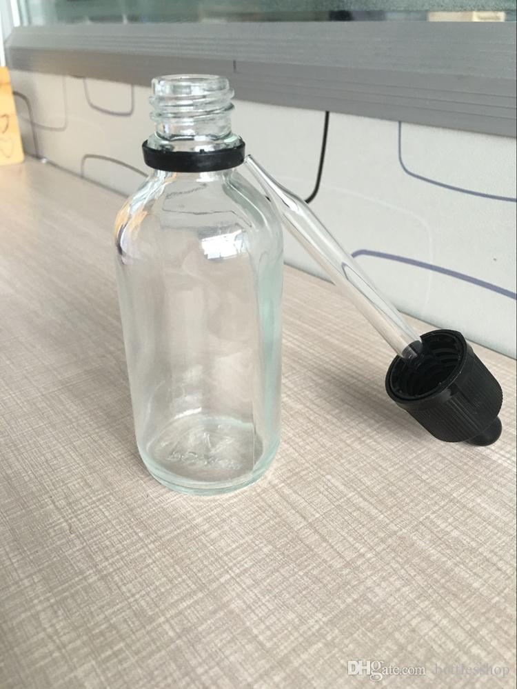 High Quality Empty Clear Glass Dropper Bottles Wholesale Essential Oil Bottles 60ml with child resistant droppers caps for e juice