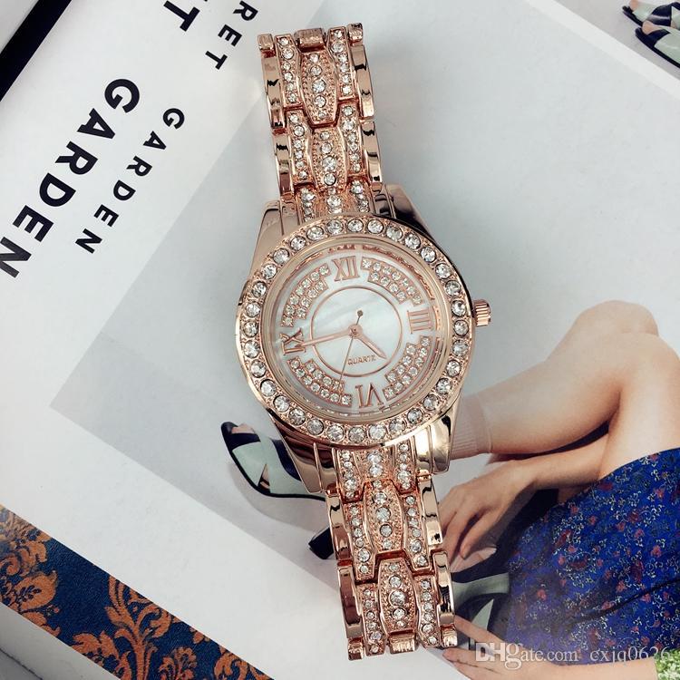 Le donne di lusso di modo guardano con l'oro rosa del diamante / signora d'acciaio inossidabile dorata guarda gli orologi da polso del braccialetto Orologi femminili di marca trasporto libero