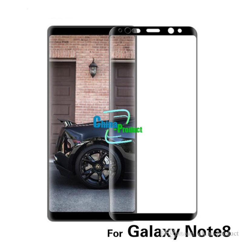 3D Curved Surface Full Screen Tinted Transparent Cover Explosion-proof Tempered Glass Front Film Protection For Samsung Note8 With Packing