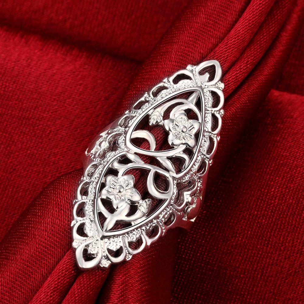 Классический творческий резной посеребренные ювелирные изделия британский стиль элегантный кольцо заявление полый цветок шикарное кольцо для женщин унисекс длинное Большое кольцо