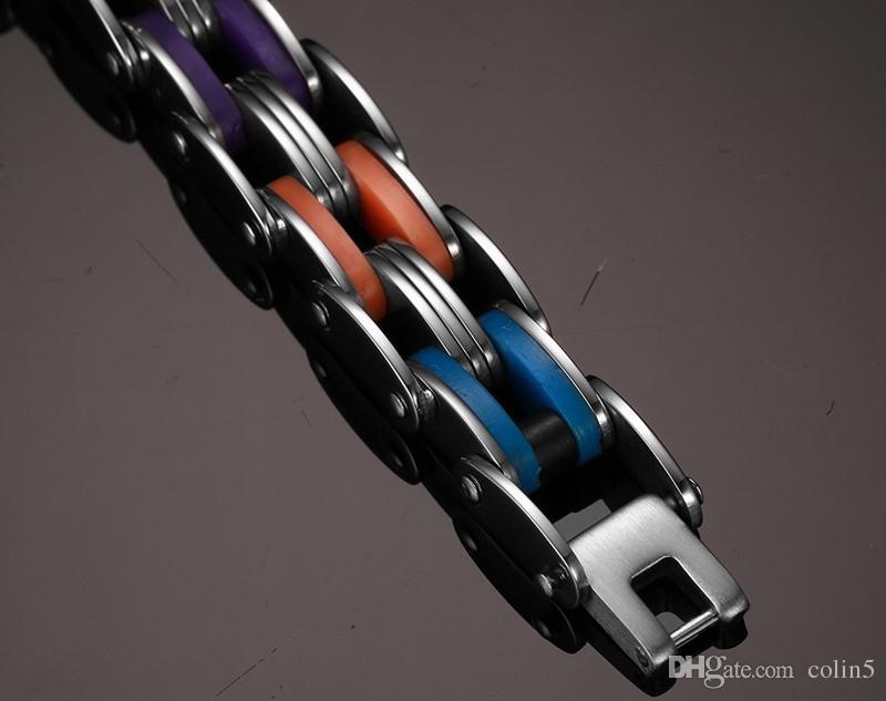 tendance populaire coloré mode hommes femmes silicone 316L en acier inoxydable vélo chaîne poignet bracelet pulsera