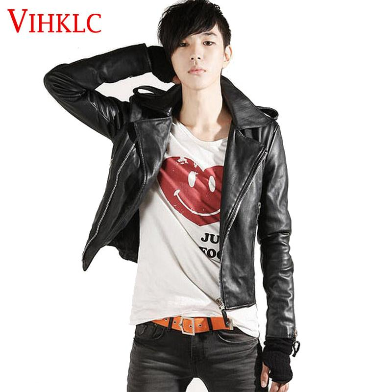 f1dfd4ac36f Wholesale- Korean Fashion Leather Jacket Men Jackets Coat Slim Biker ...