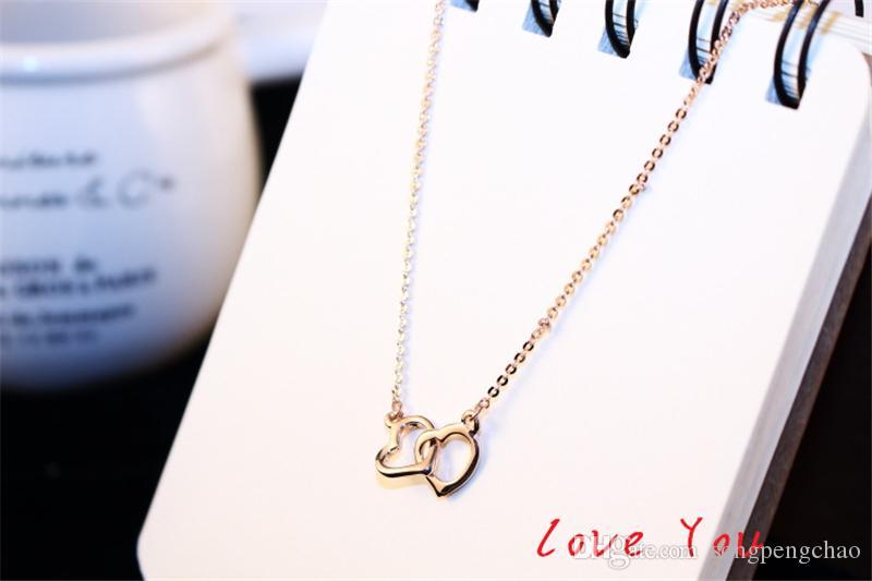 Gioielli collana del collare del Choker sposa nozze costume d'epoca collana doppio ciondolo a cuore in oro rosa placcato a catena