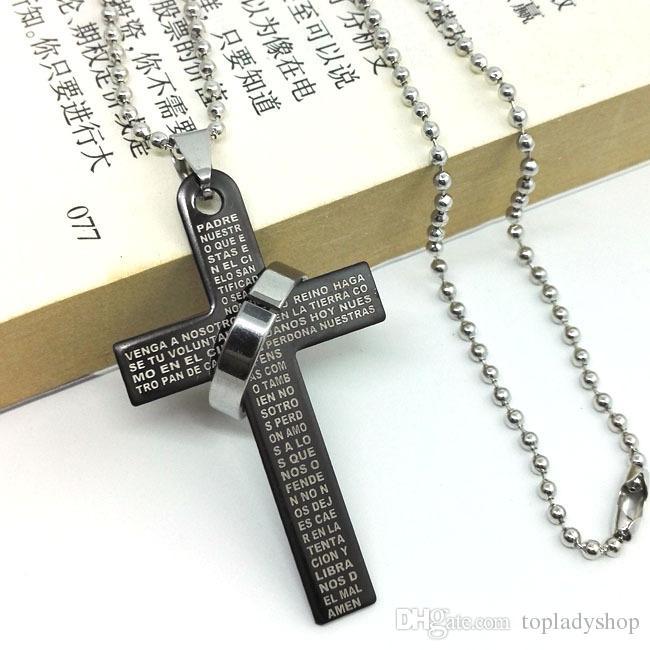Bible Cross Ring Ring Titanium Collier en acier inoxydable pour hommes Collier Croix Couple Collier en gros livraison gratuite