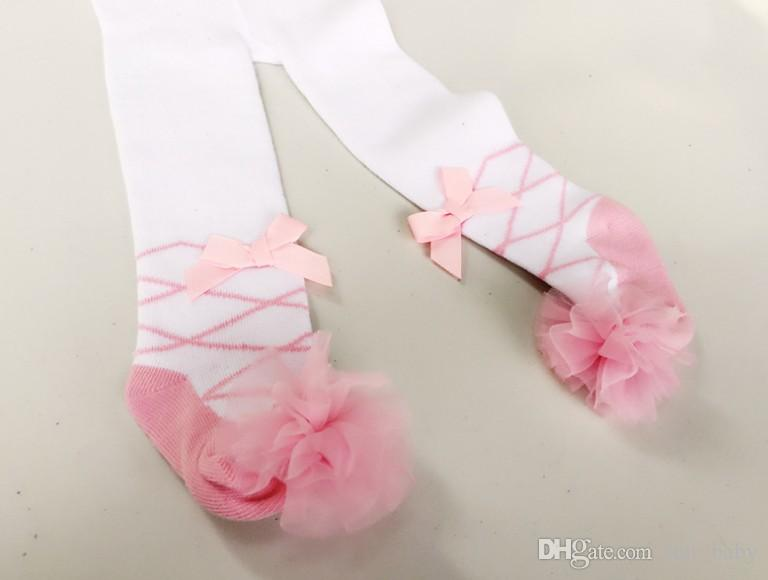 EURPEAN Style Girls Pantyhose Automne Girls Danse Ballet Leggings Baby Pantalon Baby Coton Plein Coton Bow Stripe Dots Collant Princesse Long Chaussettes 9524