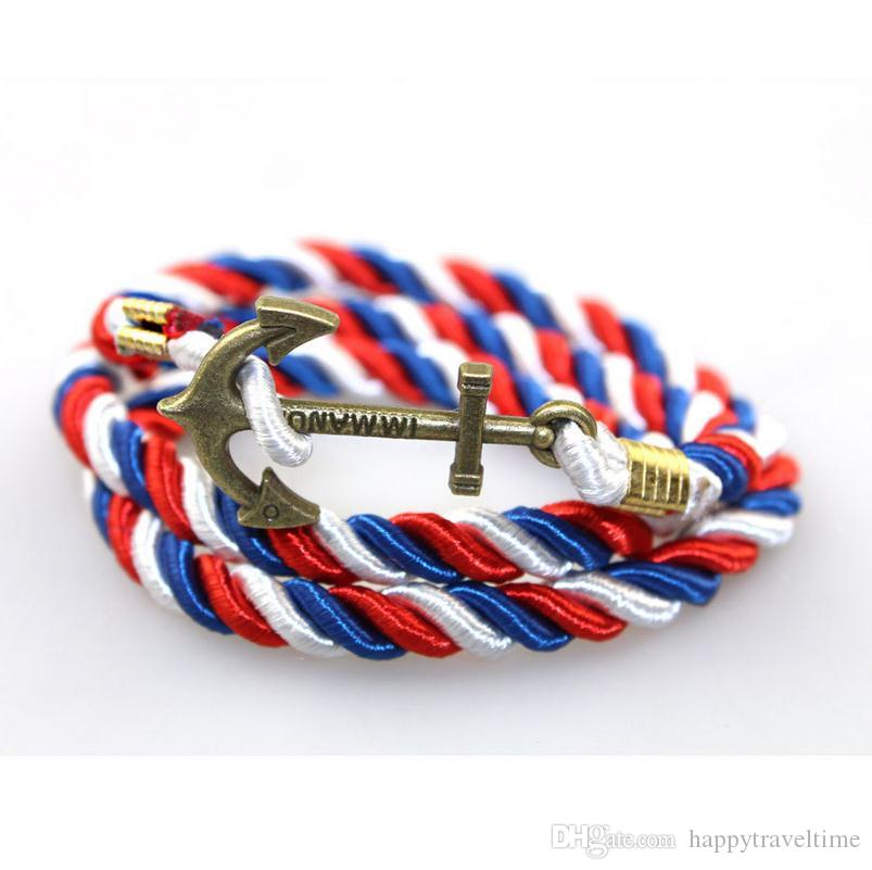 Joyería de la cuerda del ancla bronce pendiente torcida del cordón de nylon del abrigo de la vendimia Pulsera Hombres Mujeres unisex de pulsera de multicapas