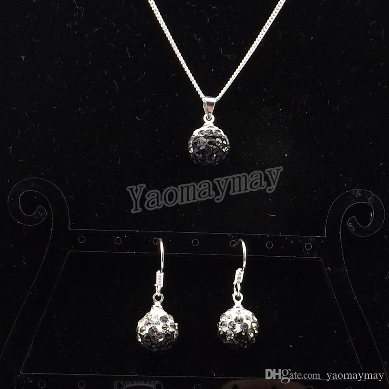 New Arrive Rhinestone Set Gradient Black Disco Ball Pendant Earrings And Necklace For Women Wholesale