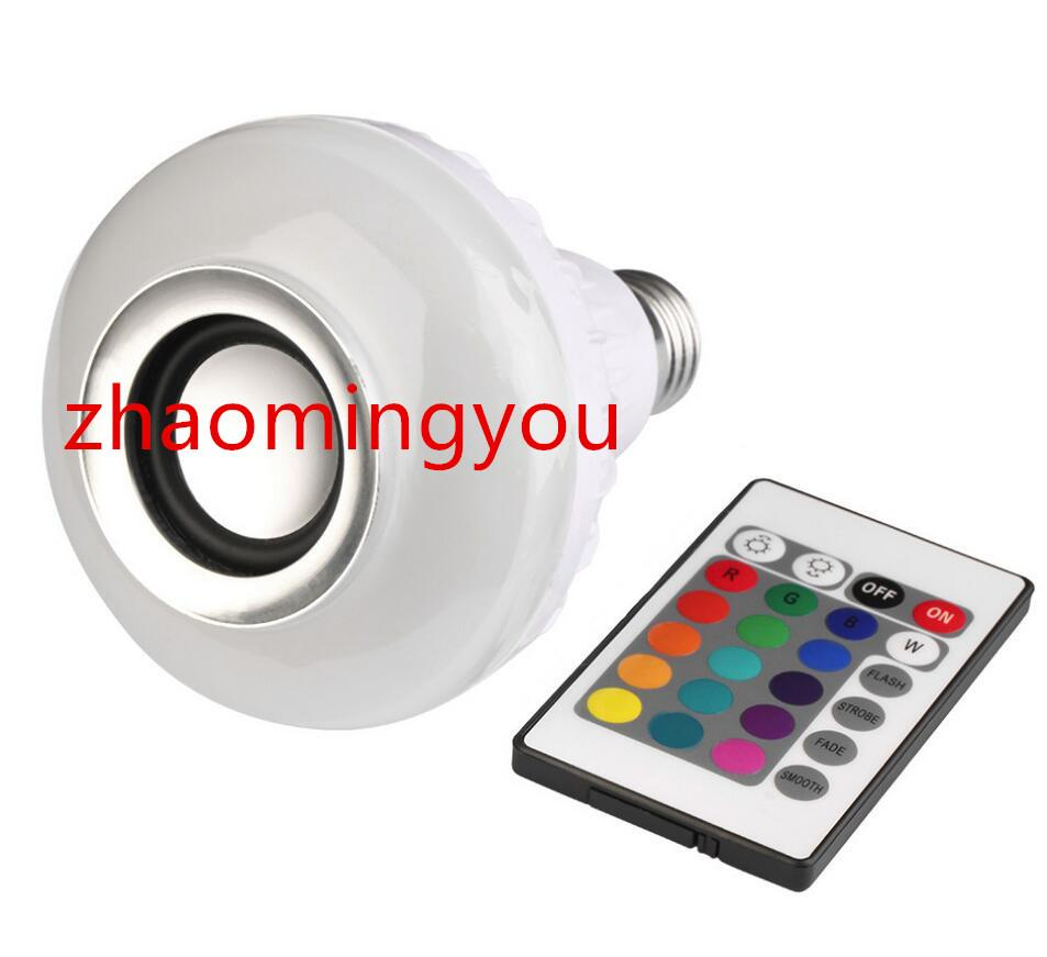 Wireless E27 12W Bluetooth Remote Control Mini Smart LED Audio Speaker RGB Color Light Warm Bulb Music Lamp