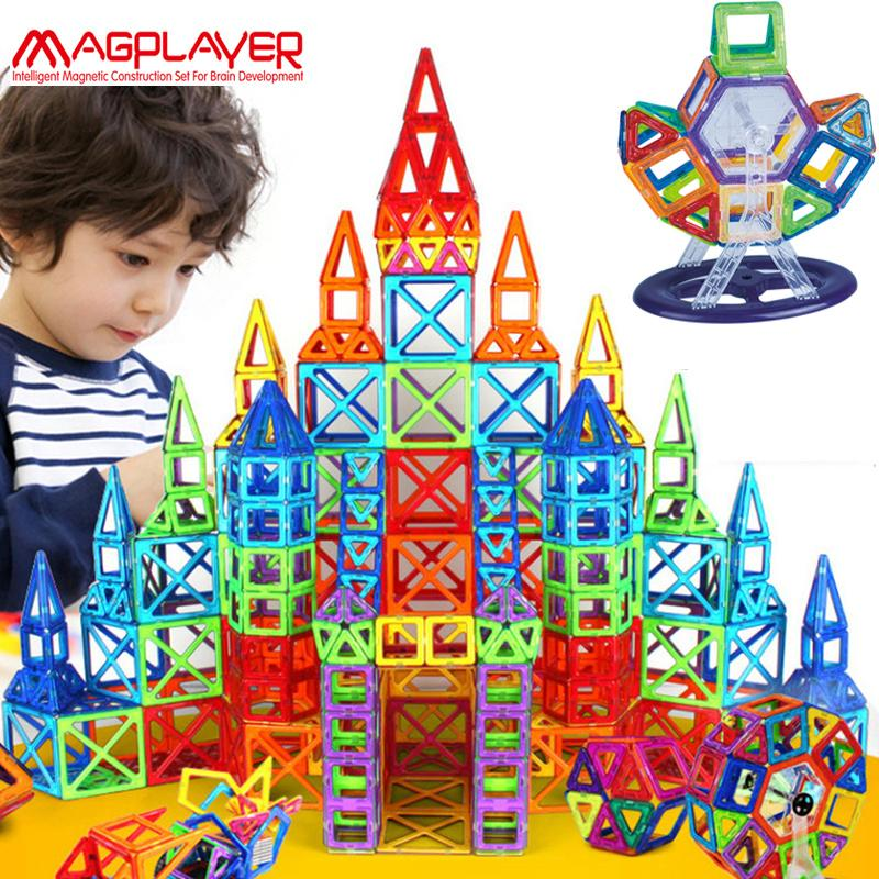 Magplayer 252pcs Magnetic Blocks Mini Magnetic Designer Construction 3D Model Magnetic Blocks Educational Toys For Children