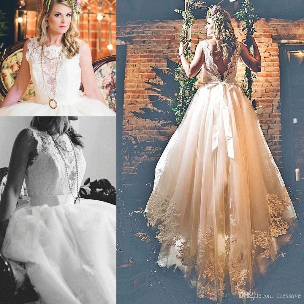 Discount 2018 Modest Boho Wedding Dresses For Elegant Brides Tulle ...