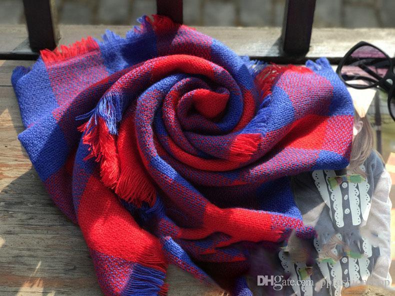 87x50cm Plaids Infinity bufandas Rejilla Loop Bufanda Mantas Tartán de gran tamaño Cheque Enrejado Envolturas Moda Flecos Cashmere Pashmina