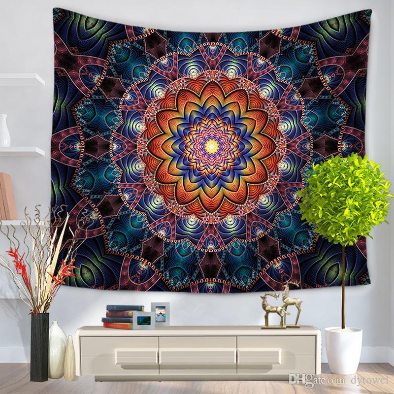 Renkli Mandala Bohemian Goblen Dekoratif Masa Örtüsü Polyester Duvar Asılı Bez Ev Dekor Halı Plaj Battaniye Bespread Yoga mat