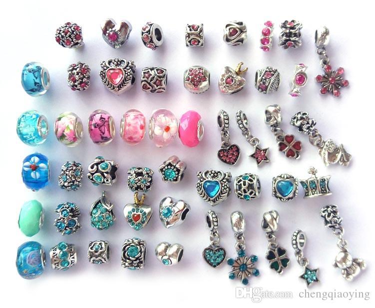 Nuovo mix di stile e colore strass argento antico placcato perline grande foro fascini adatti braccialetto europeo fai da te