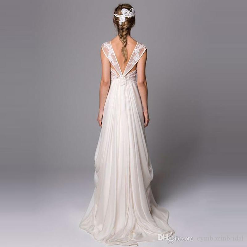 Discount Unique Back Greek Wedding Dress Lace Applique Sexy See