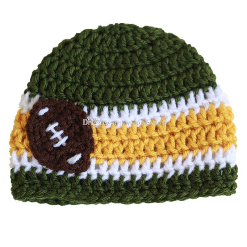 87f293e3ac7 2019 Crochet Green Football Baby Beanie Handmade Crochet Baby Boy Girl Football  Beanie Infant Newborn Photo Prop Kids Winter Hat Baby Shower Gift From ...