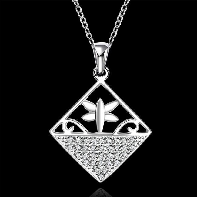 Hot vente forme carrée collier plaque en argent sterling de pierres précieuses blanc collier pendentif STSN542, la mode 925 collier en argent vente directe d'usine