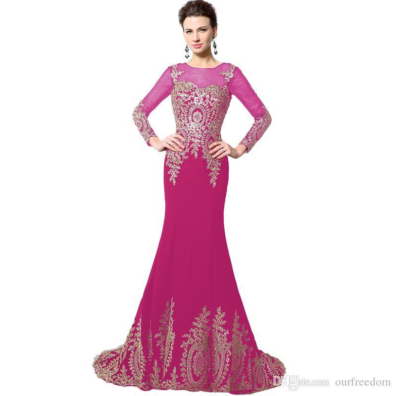 Vestidos de noche de sirena largos de encaje de oro negro 2019 de manga larga Robe De Soiree Ribbon Lace Up Vestidos de fiesta de baile Foto real XU040