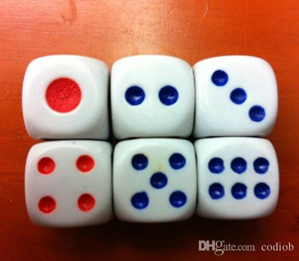6 faces Dice 13mm dés ordinaire Routine Boson Fond blanc Rouge Points Bleu KTV Bar Discothèque Jeu de Boisson Dice Haute Qualité # N1
