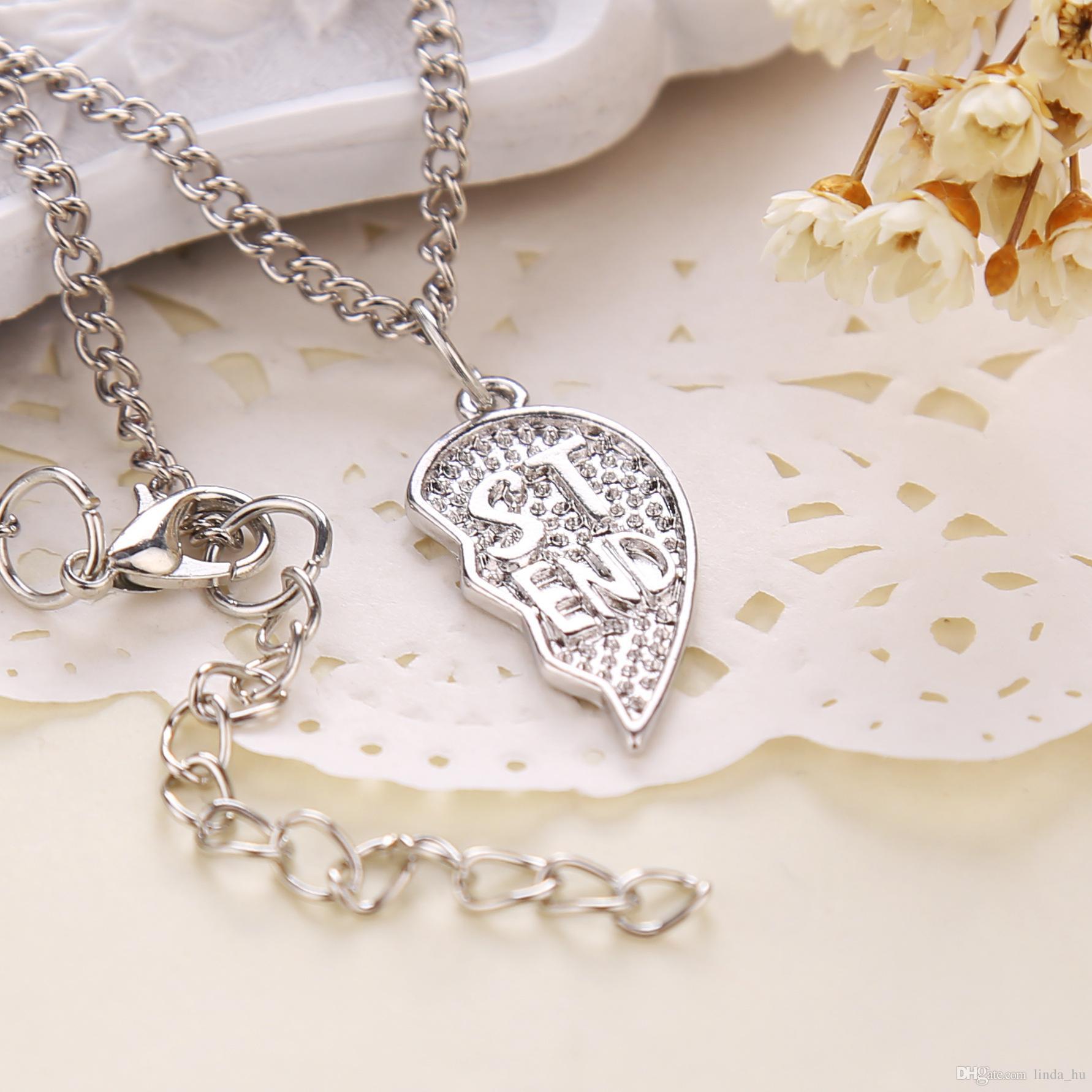 Europäische und amerikanische Modeschmuck beste Freunde Spleißen Herz Anhänger Halskette guten Freund eine Person die Hälfte