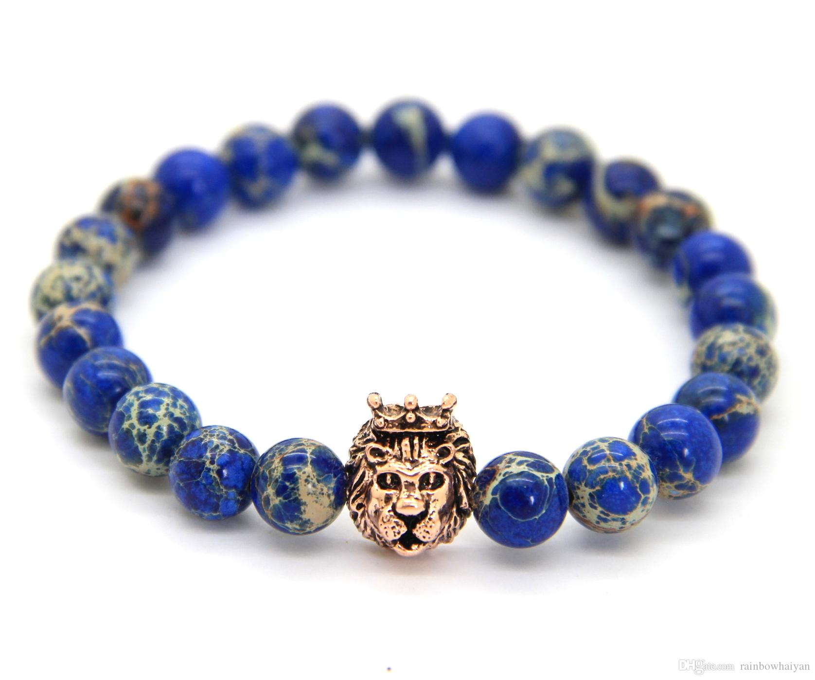 Nueva Venta al por mayor de 8 mm Blue Sea Sediment Stone Beads Mix Color Lion Head Hero pulsera, joyería para hombre