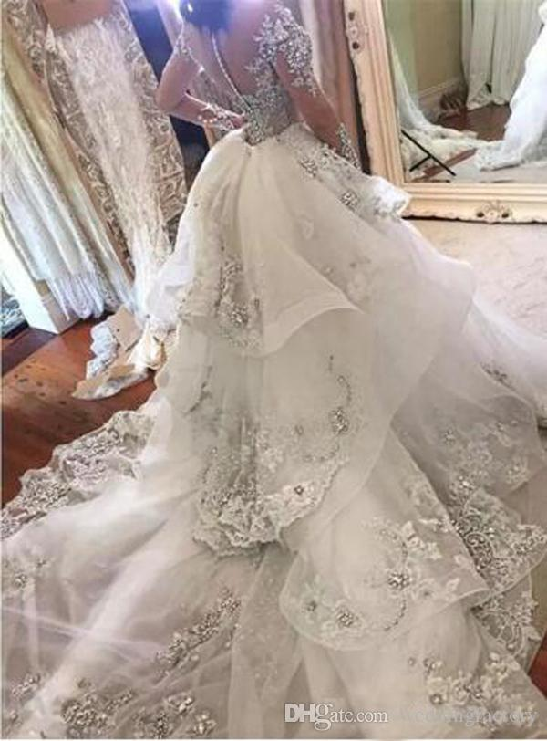 반짝 고급스러운 분리 웨딩 드레스 아랍어 인어 높은 목 환상 긴 소매 파란색 크리스탈 레이스 아플리케 신부 드레스