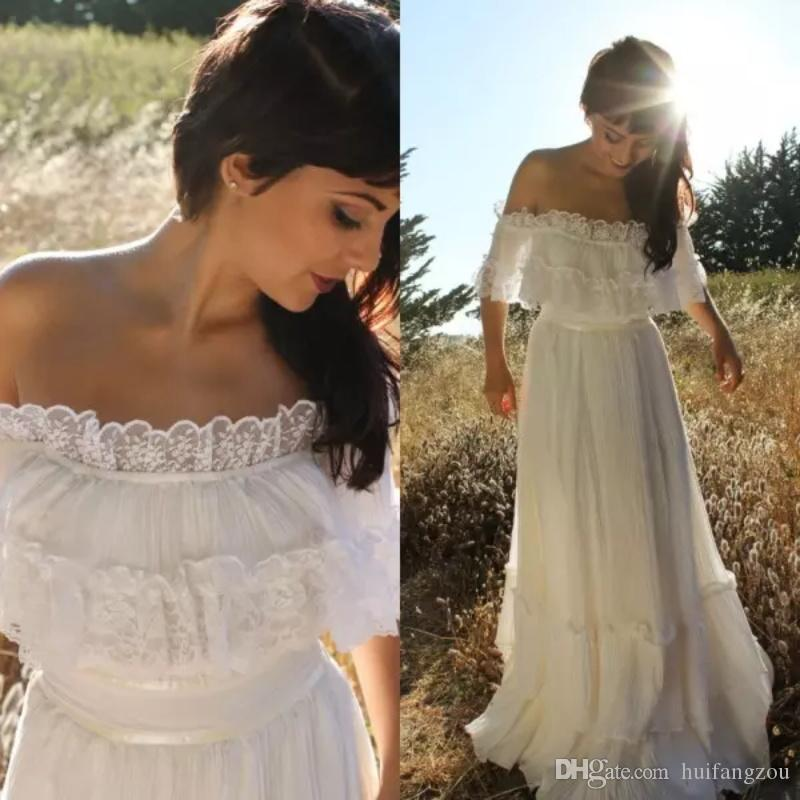 e28c904d68 Discount Vintage Country Style Bohemian Wedding Dress Off Shoulder Lace Trim  Chiffon Beach Garden Floor Length Boho Bridal Gowns Wedding Dresses Aline  ...
