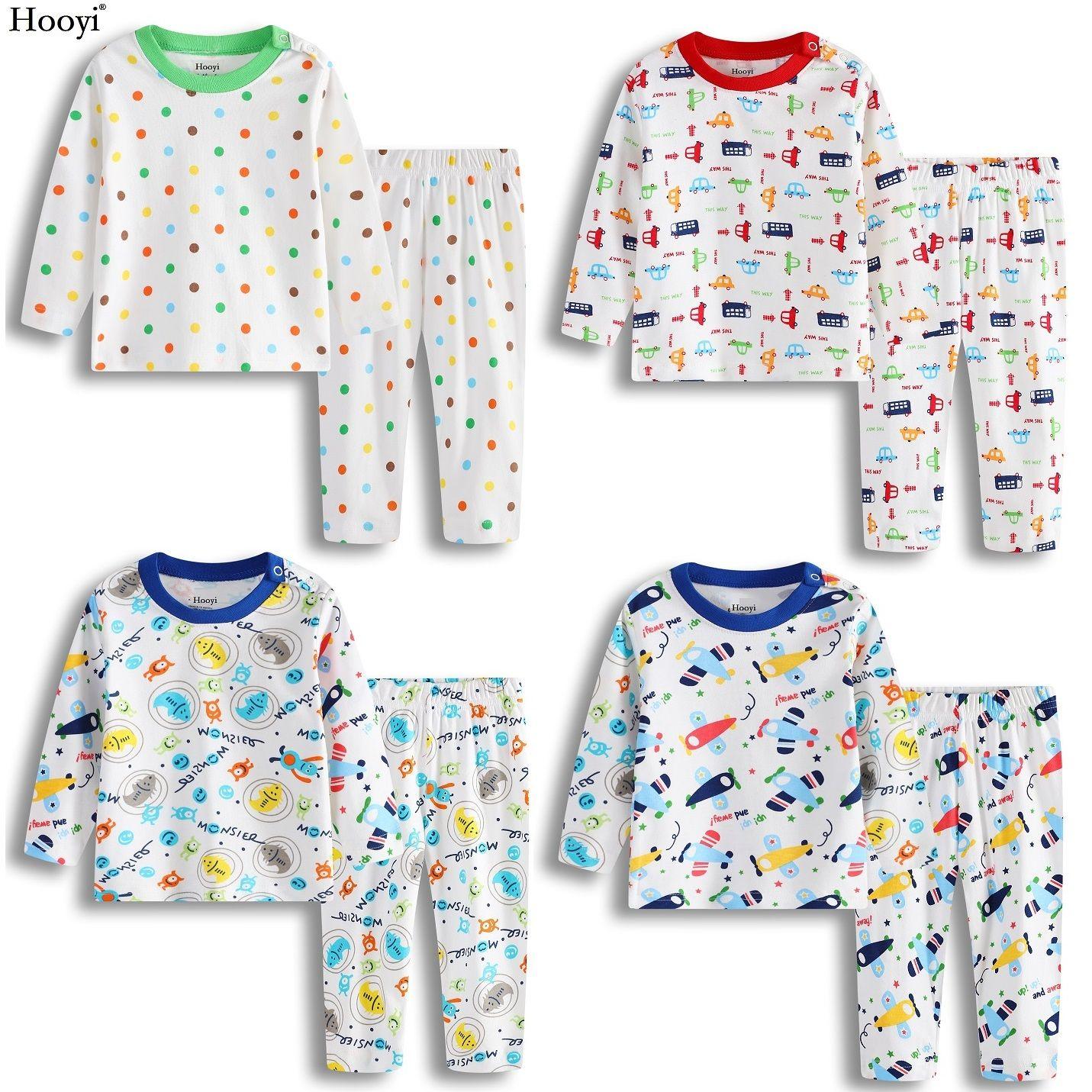 4f032bc675 Hooyi 2018 Baby Boys Pajamas Clothes Suit 100% Cotton Fashion Children  Sleepwear Top Quality Newborn T Shirt Pant Set 0 1 2 Year PJ S Matching Kids  Pajamas ...