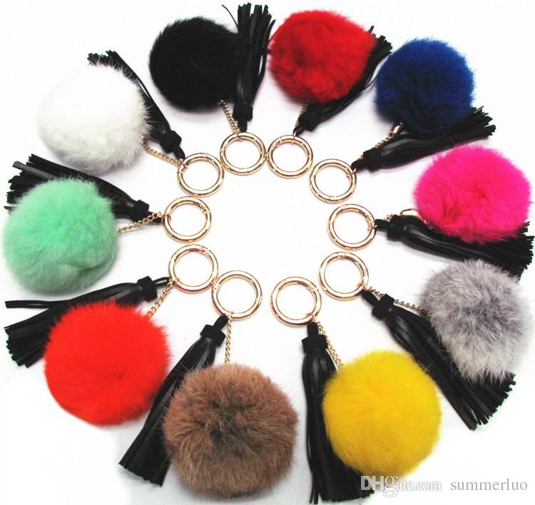 Rabbit Hair Ball Key Chain Ornaments Leather Suede Pendant Tassel Key Ring SS0010