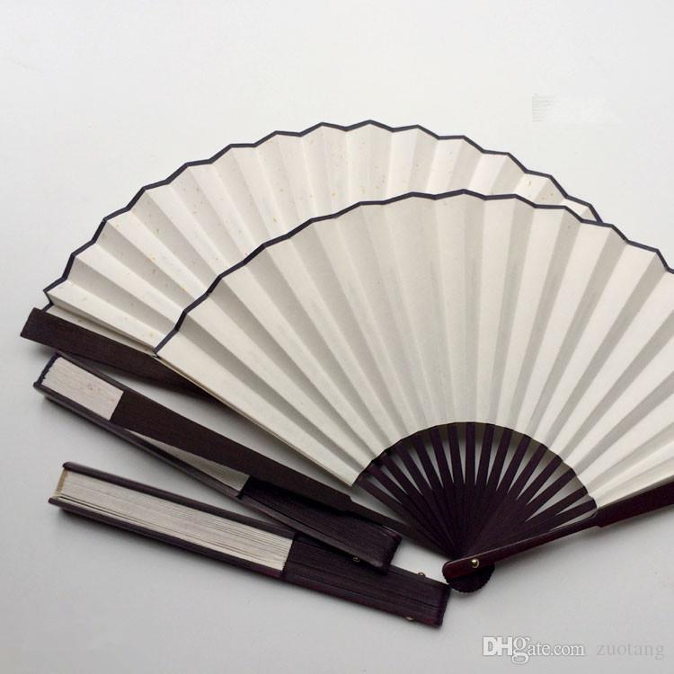 Hat Programı Çin Bambu Fan Kemik Boyama DIY Blank Beyaz Katlanır Fan Rice Kağıt Büyük El Fanlar 7' 8' 9' 10' 11 '12' Yetişkin /