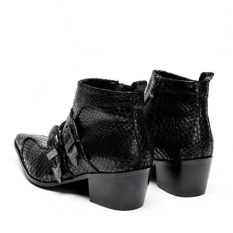 Luxury Italy Tipo 6.5CM Punta a punta nera 100% fatti a mano Nuovi stivali da uomo in pelle con fibbia Ziper Stivaletti, taglia 38-46