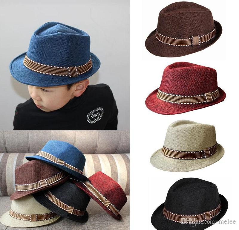2016 New Fashion Kids Boys Girls Unisex Fedora Hats Cap for Children Contrast Trim Cool Jazz Chapeu Feminino Trilby Sombreros 5colors