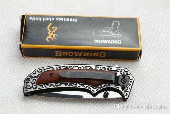 Browning F79 Flipper Tactical Coltello pieghevole in acciaio Lama manico in legno 3Cr13Mov 55HRC Caccia sopravvivenza Pocket Utility Utility EDC Tool Collection