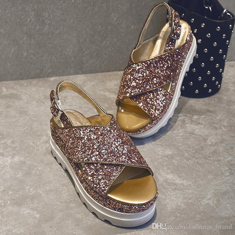 500de35940b 2017 Runway Sandal Glitter Brand Peep Toe Handmade Glitter Platform Sandal  Bling Runway Slingback Shoes Summer Beach Sandals Shoes Woman Black Wedges  ...