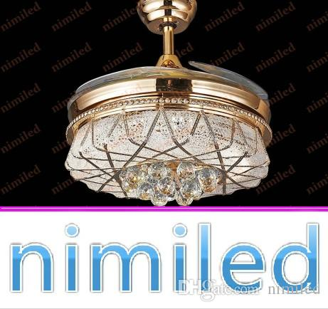 2018 Nimi884 42 Invisible Crystal Chandelier Ceiling Fan Light Pendant  Lights Living Room European Restaurant Lamps Gold Sector Led Lighting From  Nimiled, ...