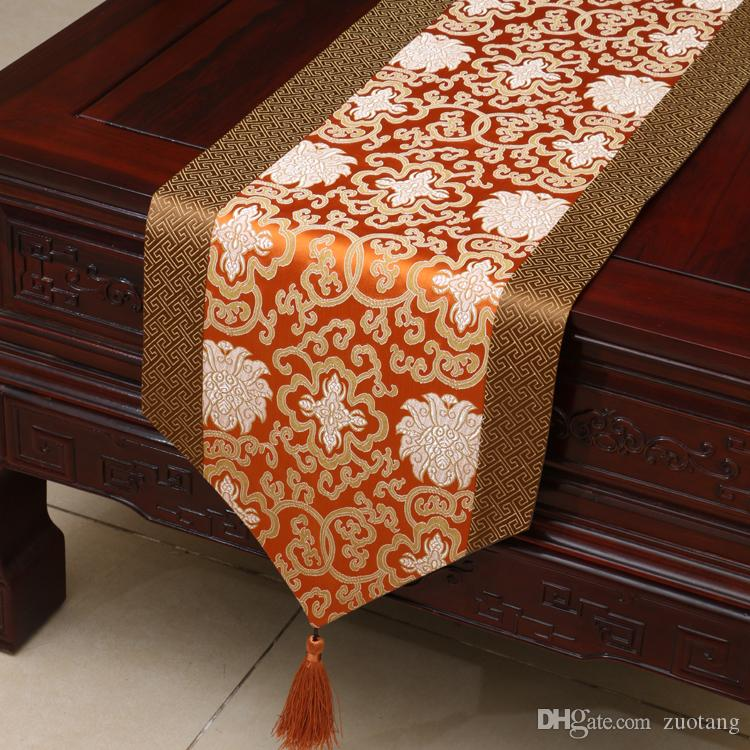 Extra Long 120 inch Happy Flower Table Runner Patchwork Silk Brocade Coffee Table Cloth High Quality Dining Table Pads Placemat 300x33 cm