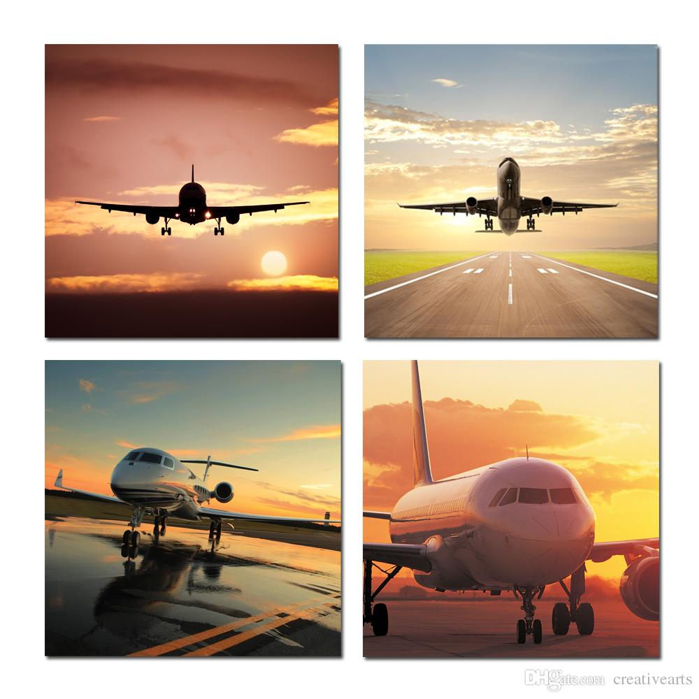 2018 4 Panel Modern Wall Art Airplane Landscape Picture Canvas Painting  Home Decor Wall Hanging Decoration For Living Room Office No Frame From  Creativearts ...