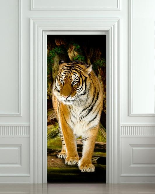 Diy 3d Tiger Door Sticker For Bedroom Living Room Poster Pvc Waterproof Decal 77*200cm Custom Wall Sticker Custom Wall Stickers From Lovercolor ... & Diy 3d Tiger Door Sticker For Bedroom Living Room Poster Pvc ...