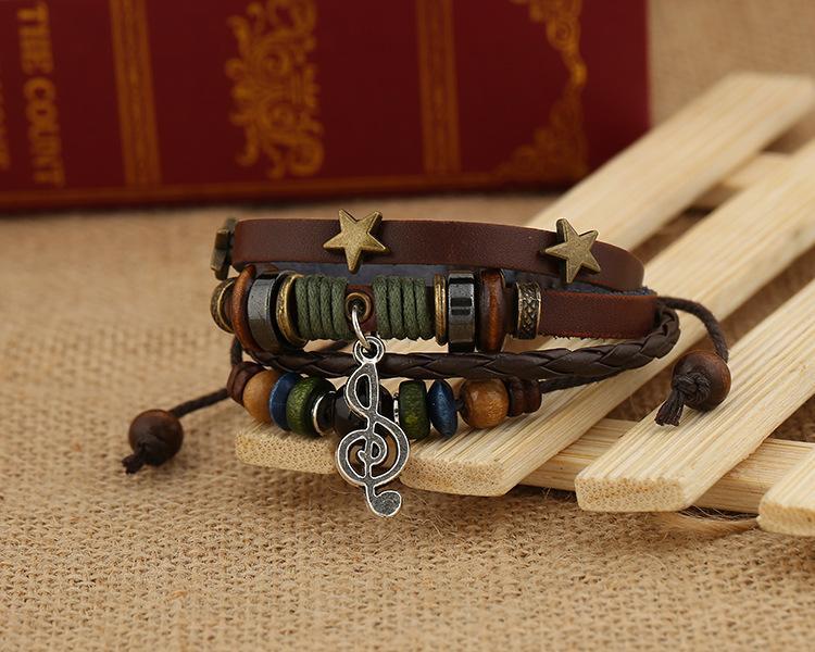 Bijoux fantaisie en gros Bracelet en cuir Femmes Personnalité Casual Notation musicale perles Chanvre Corde PU Vintage Punk Bracelet Hommes BB014