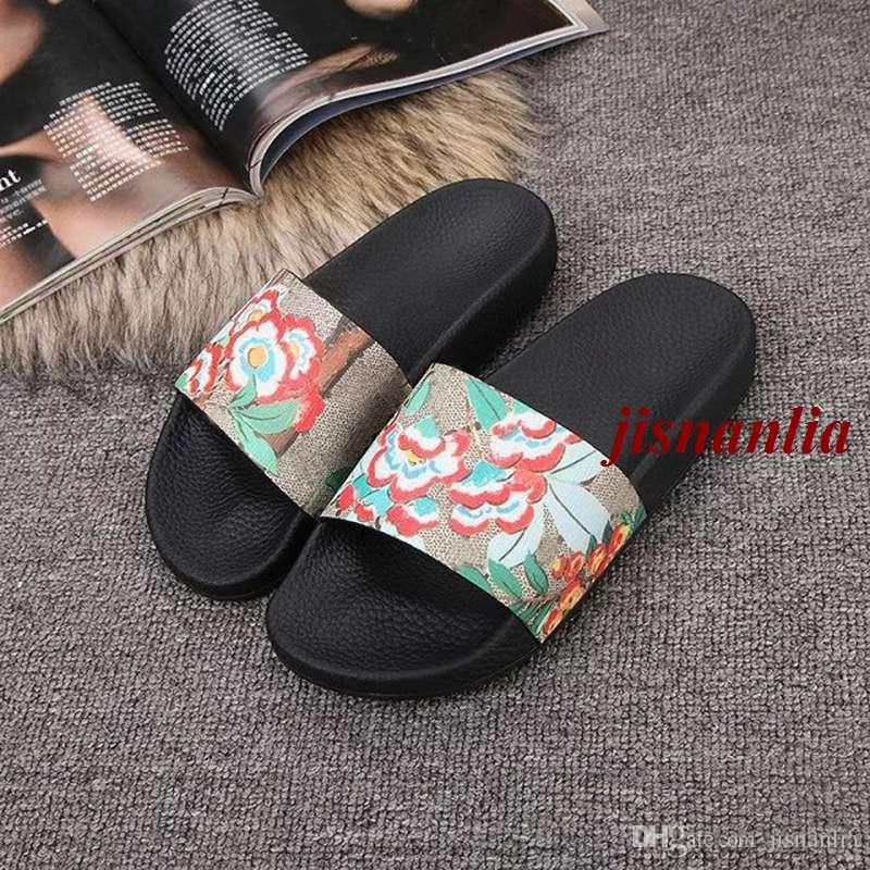 3ce92d8a7 30+Colors Mens And Womens Fashion Flower Printing Leather Slides Sandals  Slippers Outdoor Beach Flip Flops Brown Boots Winter Boots For Women From  Jisnanlia ...