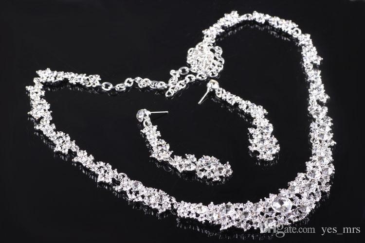 Bling Ensemble de bijoux d'argent en cristal de mariée boucles d'oreilles diamant collier plaqué ensembles de bijoux de mariée pour demoiselles d'honneur femme Accessoires de mariée