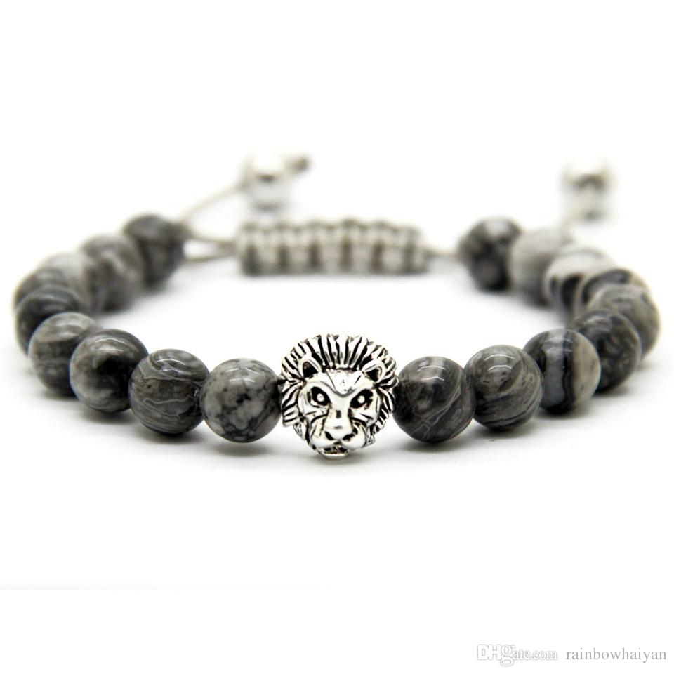 Vente chaude Hommes Bracelets 8mm Pierre Perles Or Argent Plaqué Lion Tête Tressage Bracelets