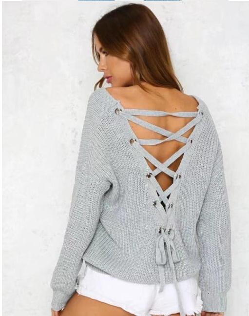 Autumn Women Sexy Bandage Design Sweaters V-neck Back Hollows Long Sleeved Sweatshirts Tops Pullovers